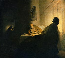 Christ in Emmaus, c.1628 by Rembrandt | Painting Reproduction