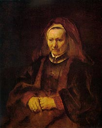 Portrait of an Elderly Woman, c.1650/52 von Rembrandt | Gemälde-Reproduktion