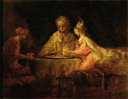 Ahasuerus, Haman and Esther, 1660 von Rembrandt | Gemälde-Reproduktion