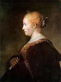 Portrait of a Young Woman, 1632 von Rembrandt | Gemälde-Reproduktion