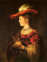 Saskia with a Bonnet, c.1642 von Rembrandt | Gemälde-Reproduktion