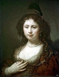Bust of a Woman, 1636 von Rembrandt | Gemälde-Reproduktion