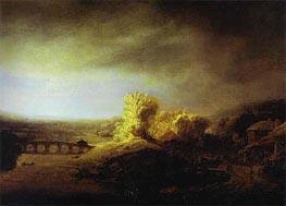 Landscape with a Long Arched Bridge, c.1630/40 von Rembrandt | Gemälde-Reproduktion