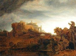 Landscape with Castle, c.1643 von Rembrandt | Gemälde-Reproduktion
