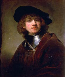'Tronie' of a Young Man with Gorget and Beret, c.1639 von Rembrandt | Gemälde-Reproduktion