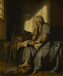 The Apostle Paul in Prison, 1627 von Rembrandt | Gemälde-Reproduktion