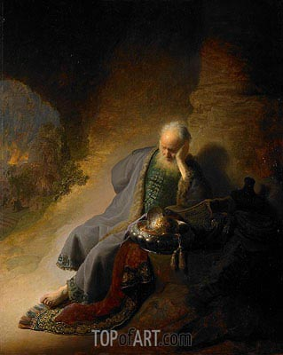 Jeremiah Lamenting the Destruction of Jerusalem, 1630 | Rembrandt | Gemälde Reproduktion