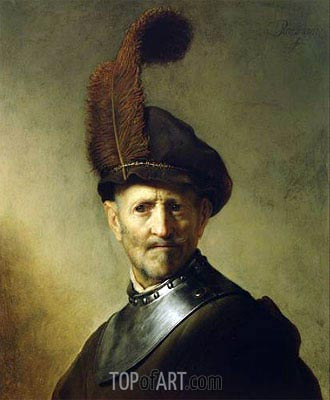 An Old Man in Military Costume (Man with a Plume), c.1630/31 | Rembrandt | Painting Reproduction