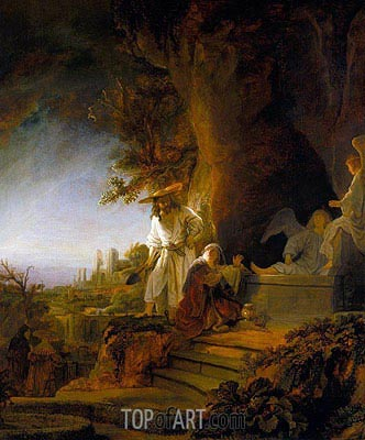 Christ and St Mary Magdalene at the Tomb, 1638 | Rembrandt | Painting Reproduction