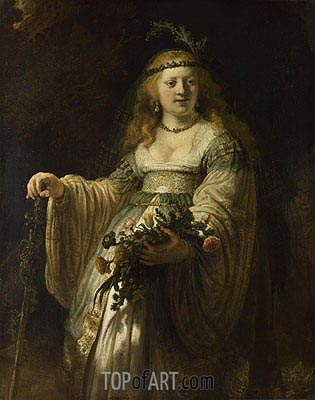 Flora (Saskia van Uylenburgh in Arcadian Costume), 1635 | Rembrandt | Painting Reproduction