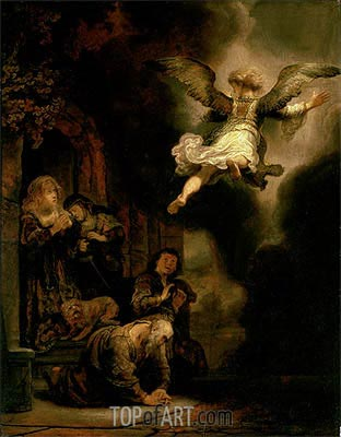 The Archangel Leaving the Family of Tobias, 1637 | Rembrandt| Gemälde Reproduktion