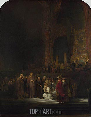 Christ and the Woman Taken in Adultery, 1644 | Rembrandt| Painting Reproduction