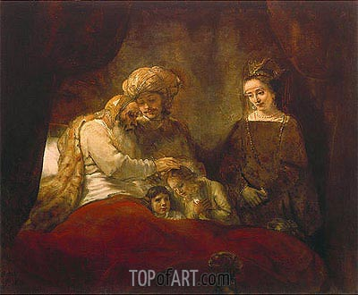 Jacob Blessing the Children of Joseph, 1656 | Rembrandt| Painting Reproduction
