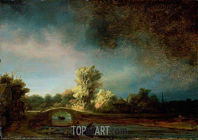 Landscape with Stone Bridge, c.1638 | Rembrandt| Painting Reproduction