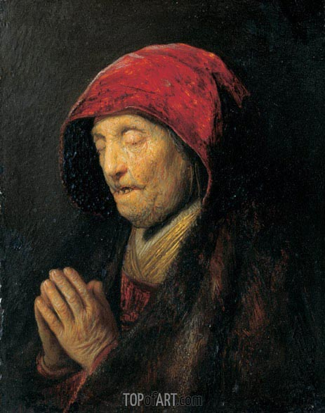Old Woman Praying (Rembrandt's Mother Praying), c.1629/30 | Rembrandt | Painting Reproduction