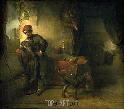 Rembrandt | The Student (Standing Young Man at the Window in his Study Reading), a.1653