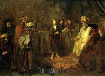 The Twelve Year Old Jesus in Front of the Scribes, c.1655 | Rembrandt | Painting Reproduction