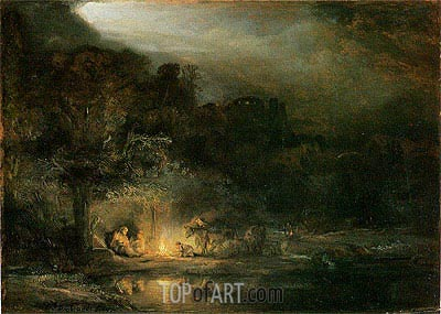 The Rest of the Flight into Egypt, 1647 | Rembrandt | Painting Reproduction