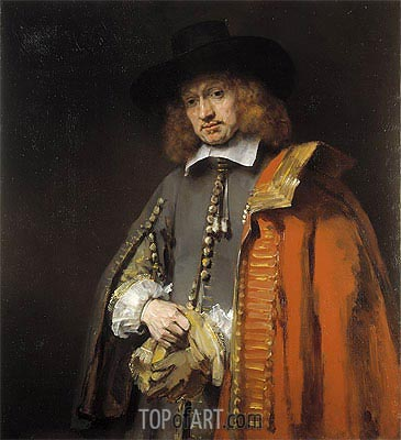 Portrait of Jan Six, 1654 | Rembrandt | Painting Reproduction