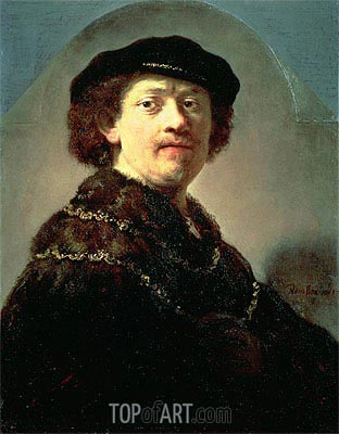 Self-Portrait in a Black Cap, 1637 | Rembrandt | Gemälde Reproduktion