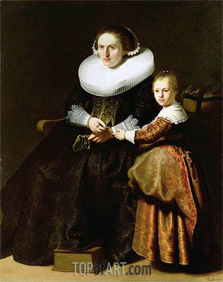 Susanna van Collen, Wife of Jean Pellicorne with Her Daughter Anna, c.1632 | Rembrandt | Painting Reproduction