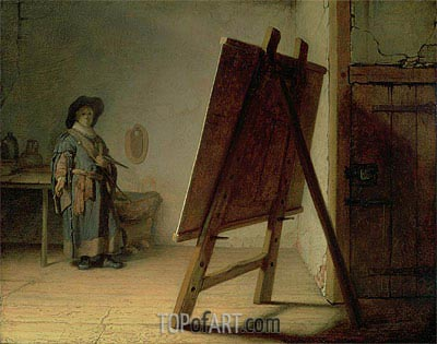 Artist in his Studio, c.1627/28 | Rembrandt | Painting Reproduction