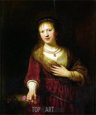 Saskia with a Red Flower, 1641 | Rembrandt | Painting Reproduction