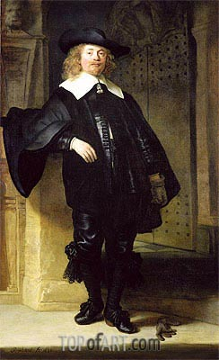 Full Length Portrait of a Standing Man, 1639 | Rembrandt | Painting Reproduction