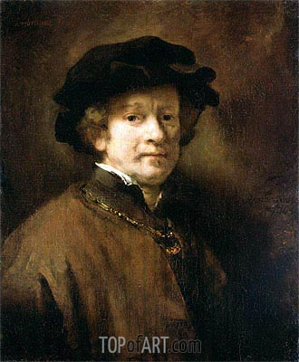 Self Portrait with Cap and Gold Chain, 1654 | Rembrandt | Painting Reproduction