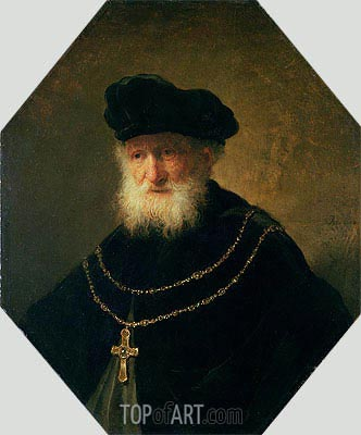 Rembrandt | Head of an Old Man wearing a Cross, 1630
