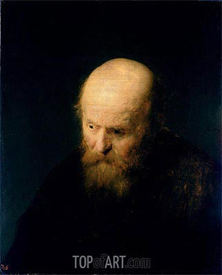 Head of a Bald, Old Man, 1632 | Rembrandt | Gemälde Reproduktion