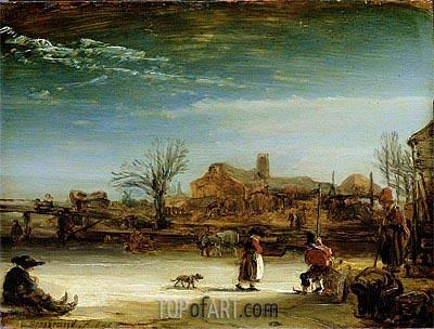 Winter Landscape, 1646 | Rembrandt | Painting Reproduction