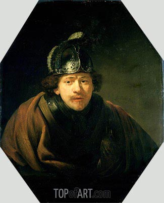Self Portrait with Helmet, 1634 | Rembrandt | Gemälde Reproduktion