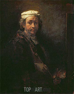 Self Portrait at his Easel, 1660 | Rembrandt | Painting Reproduction