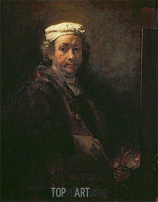 Self Portrait at his Easel, 1660 | Rembrandt | Gemälde Reproduktion