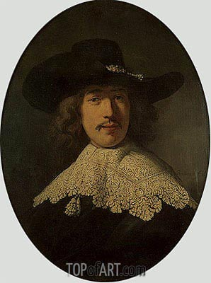 Portrait of a Young Man with a Lace Collar, 1634 | Rembrandt| Painting Reproduction
