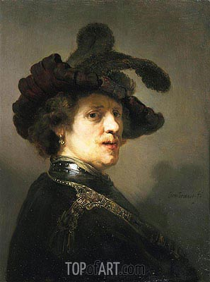 Portrait of a Man with Hat with Plume, c.1635/40 | Rembrandt | Painting Reproduction