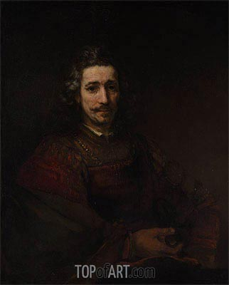 Man with a Magnifying Glass, c.1660/64 | Rembrandt| Painting Reproduction