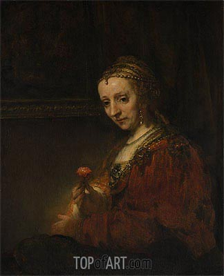 Woman with a Pink, c.1660/64 | Rembrandt | Painting Reproduction
