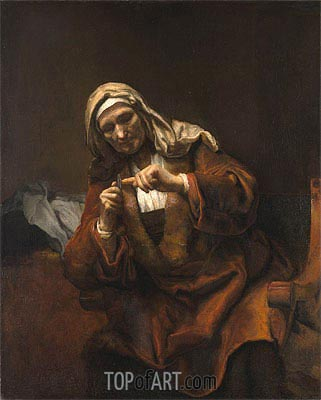 Old Woman Cutting Her Nails, 1648 | Rembrandt| Gemälde Reproduktion