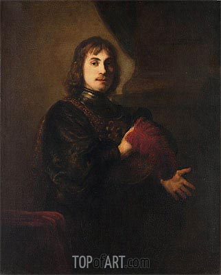 Portrait of a Man with a Breastplate and Plumed Hat,  | Rembrandt| Painting Reproduction