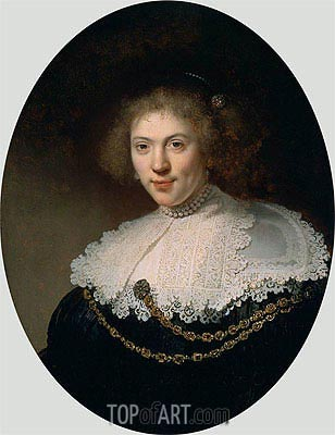 Portrait of a Woman Wearing a Gold Chain, 1634 | Rembrandt | Gemälde Reproduktion