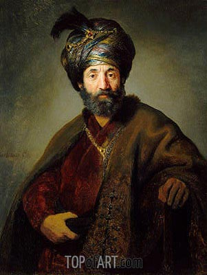 Man in Oriental Costume, c.1635 | Rembrandt | Painting Reproduction