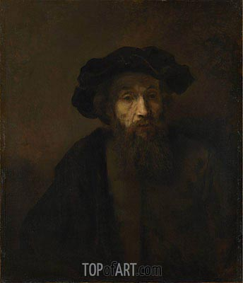 A Bearded Man in a Cap, c.1655/60 | Rembrandt| Gemälde Reproduktion