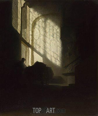Rembrandt | A Man Seated Reading at a Table in a Lofty Room, c.1628/30