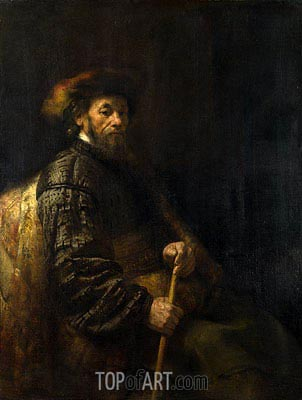 A Seated Man with a Stick,  | Rembrandt| Painting Reproduction