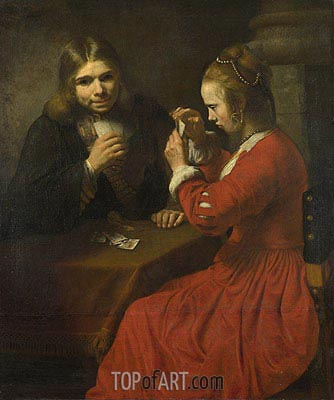 A Young Man and a Girl playing Cards, c.1645/50 | Rembrandt| Gemälde Reproduktion