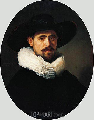 Portrait of a Bearded Man in a Wide-Brimmed Hat, 1633 | Rembrandt| Gemälde Reproduktion