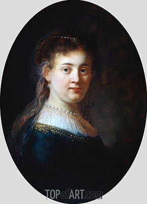 Portrait of a Woman (Saskia van Uylenburgh), 1633 | Rembrandt| Painting Reproduction