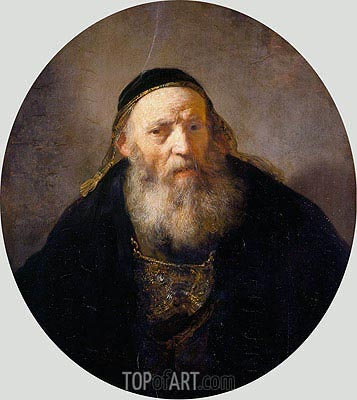 A Rabbi with a Cap, c.1635 | Rembrandt | Gemälde Reproduktion